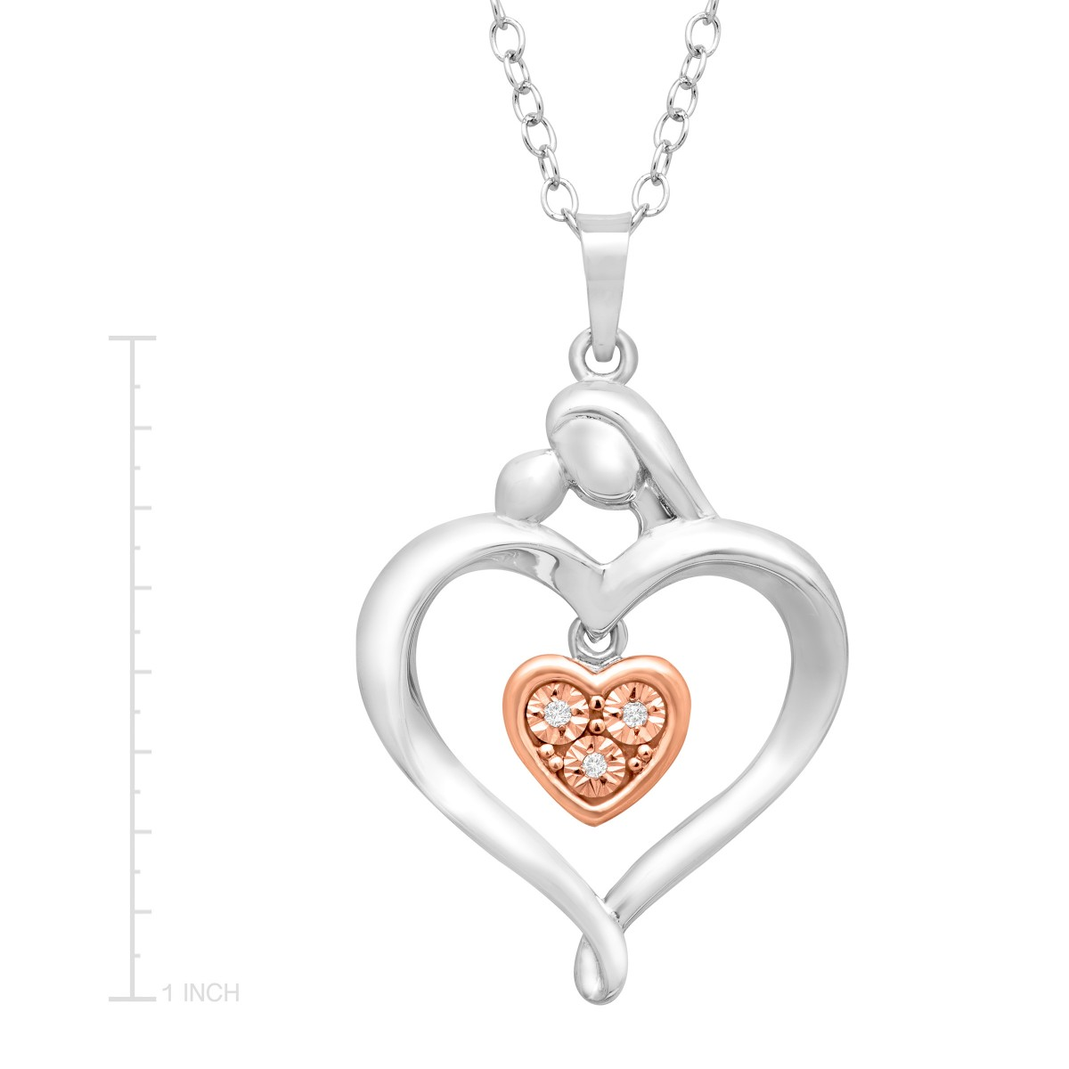 Mother & Child Heart Pendant Necklace with Diamonds