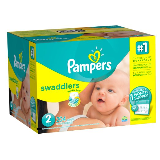 Pampers Swaddlers Diapers, Size 2, One Month Supply, 204 Count