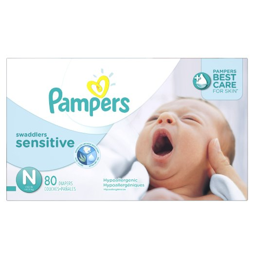 Pampers Swaddlers Sensitive Diapers, Size N, 80 Count