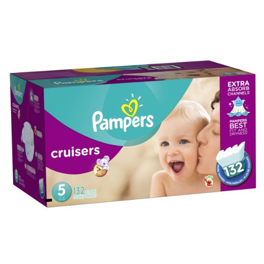 Pampers Cruisers Diapers Economy Plus Pack, Size 5, 132 Count