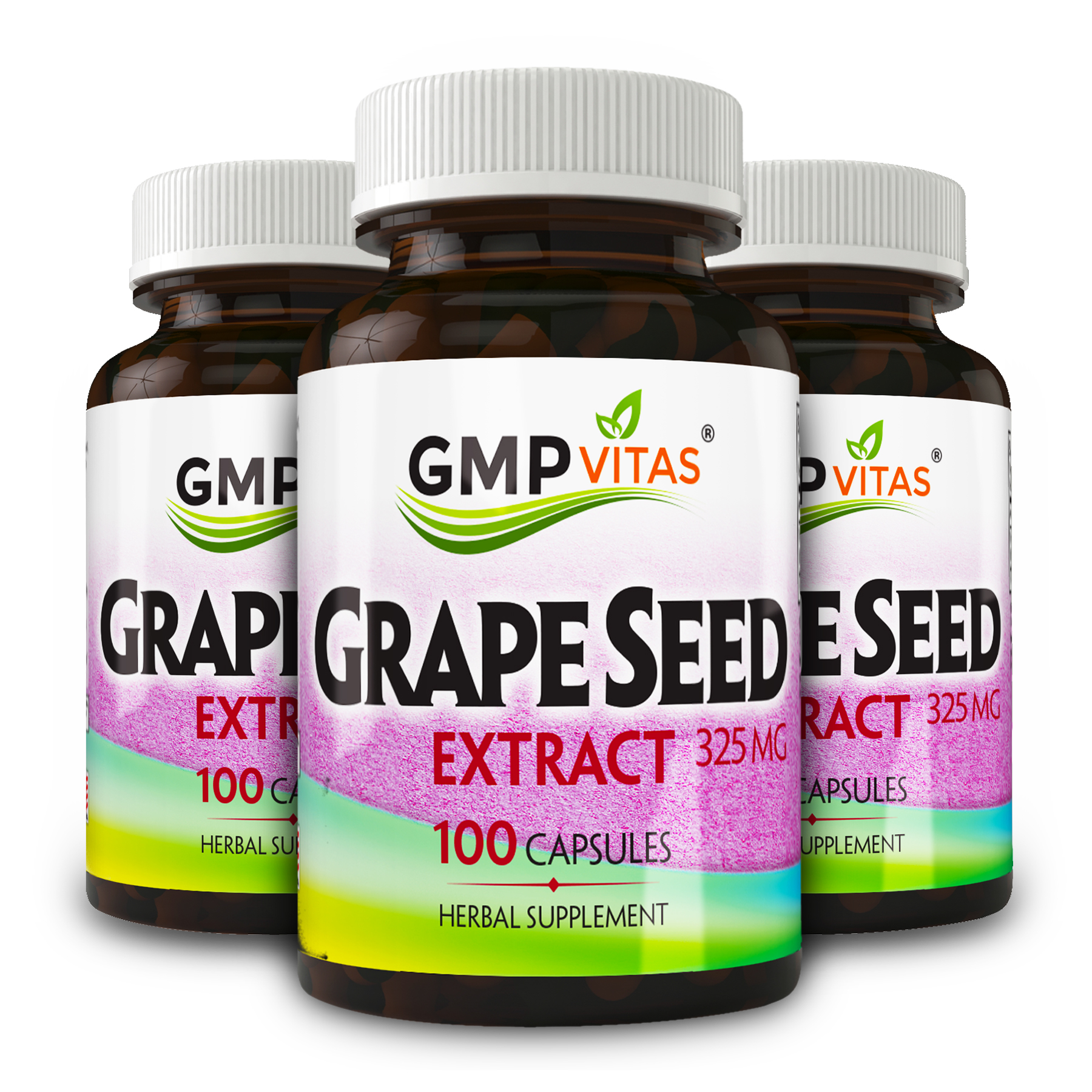 Grape Seed Extract Bundle (GMP Vitas® Grape Seed Extract 325mg 100 Capsules x 3)