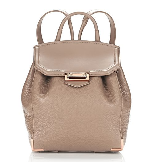 PRISMA MINI BACKPACK IN PEBBLED LATTE WITH ROSE GOLD