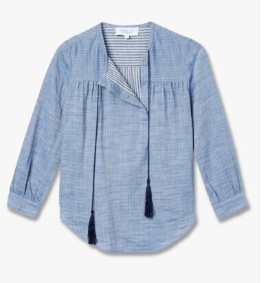 Tie Detail Chambray Shirt - Pale Chambray | DEREK LAM®