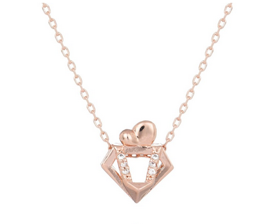 Chinese Zodiac Rooster Necklace in Rose Gold