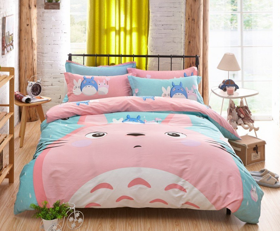 MeMoreCool New Arrival!Japanese Anime My Neighbor Totoro Cartoon 4 Pieces Bedding Set 100% Cotton Pink Totoro Duvet Cover Set Cute Kids Bedding Set Anime Bed Sheets