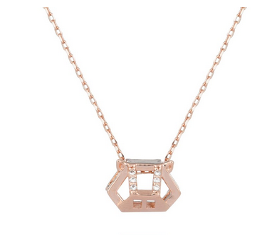 Chinese Zodiac Pig Necklace in Rose Gold