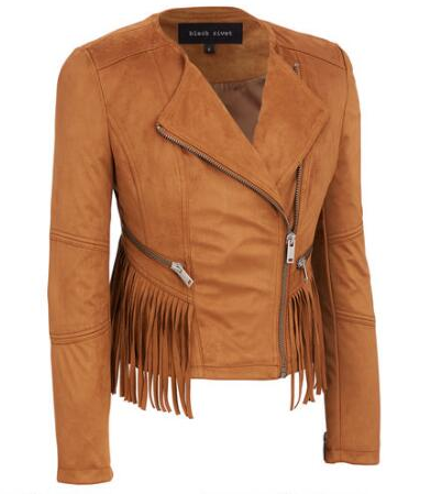 Black Rivet Collarless Asymmetrical Fringe Faux-Suede Jacket - Wilsons Leather