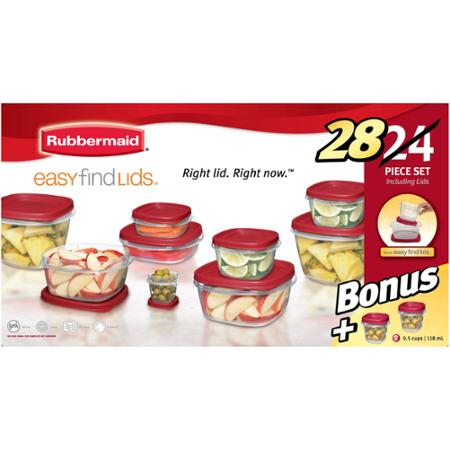 Rubbermaid Easy Find Lids 24-Piece Plus 4 Food Storage Set - Walmart.com