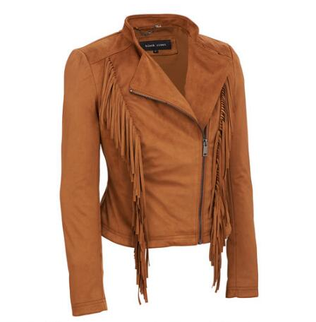 Black Rivet Stand Collar Faux-Suede Jacket w/ Fringe Detail - View All - Women's & Plus Size - Wilsons Leather