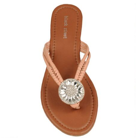 Black Rivet Center Beaded and Rhinestone Flip Flop - Footwear - Handbags & Accessories - Wilsons Leather