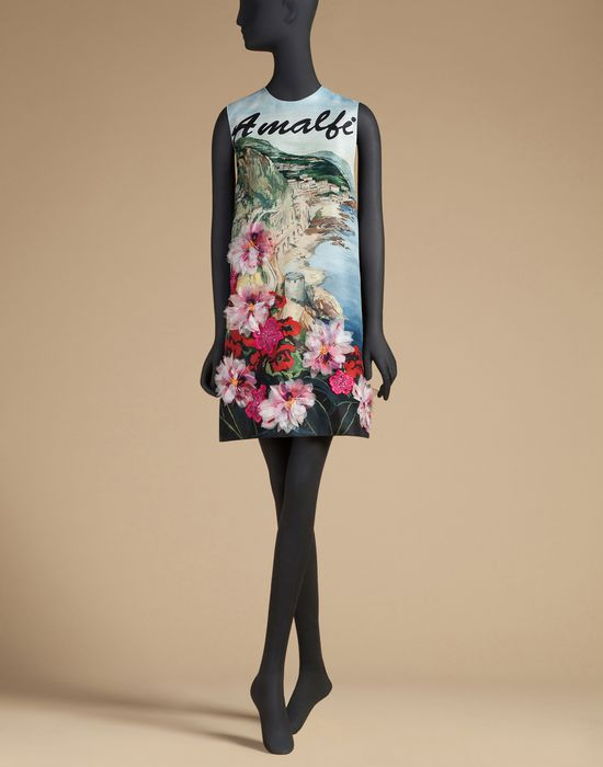 Dolce & gabbana postcard dress in printed silk with embroidery, short dress women