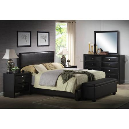 Ireland Queen Faux Leather Bed, Black - Walmart.com