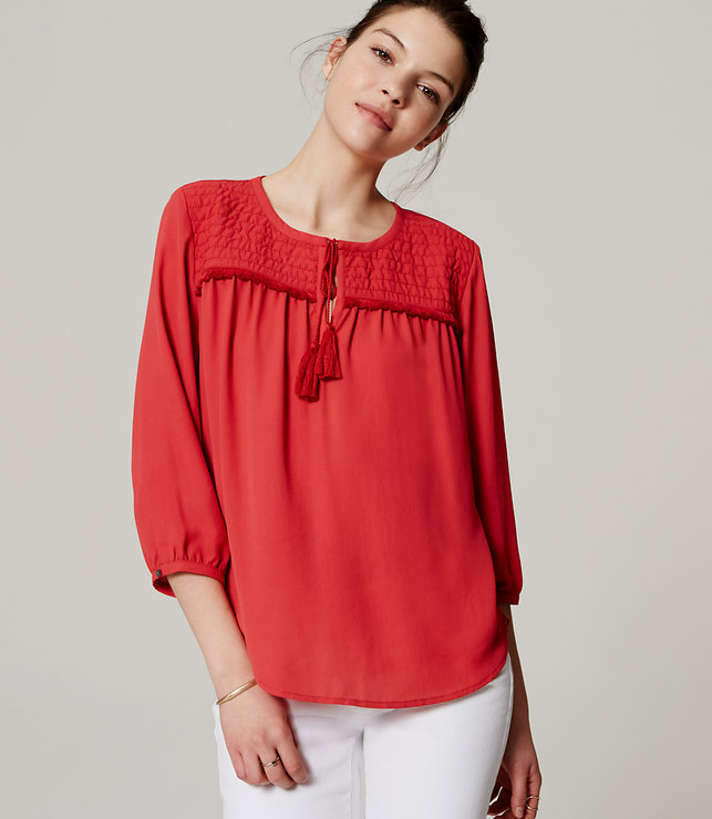 Quilted Tassel Blouse