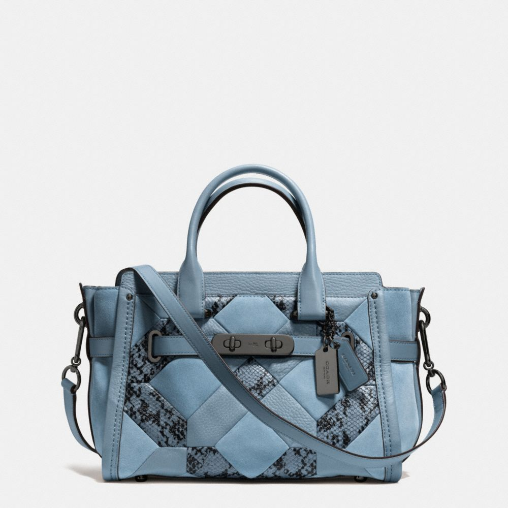 Coach Swagger 27 In Patchwork Exotic Embossed Leather