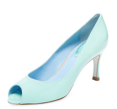 Rene Caovilla Patent Leather Peep-Toe Pump
