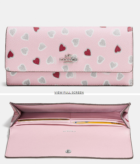 COACH Designer Wallets   Soft Wallet In Heart Print Coated Canvas