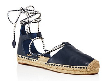 Tory Burch Positano Lace Up Espadrille Flats