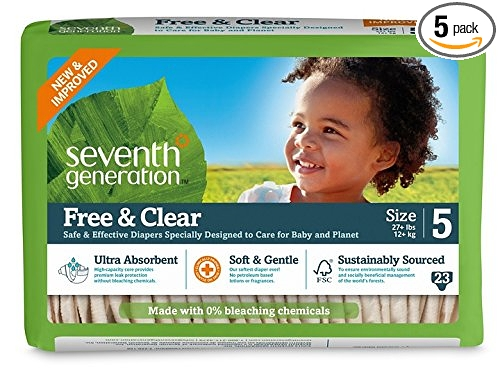 Seventh Generation Free and Clear Sensitive Skin Baby Diapers, Original Unprinted, Size 5, 23 Count (Pack of 5): Health & Personal Care