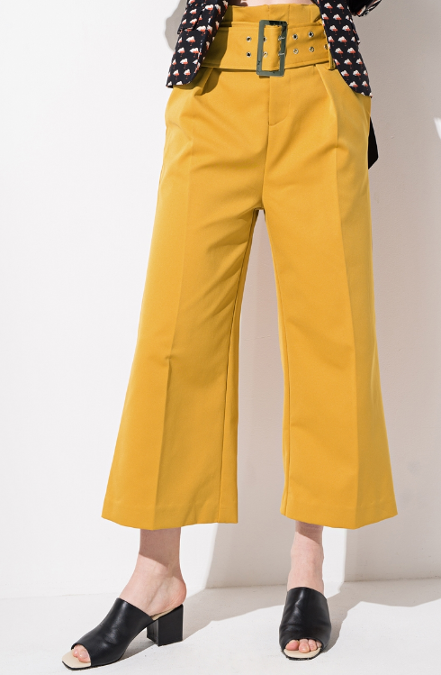 FRS Yellow High Waisted Belted Wide Leg Pants