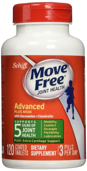 Move Free Joint Health Advanced Plus MSM with Glucosamine and Chondroitin and Hyaluronic Acid Joint Supplement-Plus Extra Cartilage Support, 120 tablets