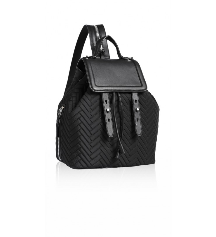 Mackage - TANNER-F5Q |QUILTE BLACK AND LEATHER BACKPACK