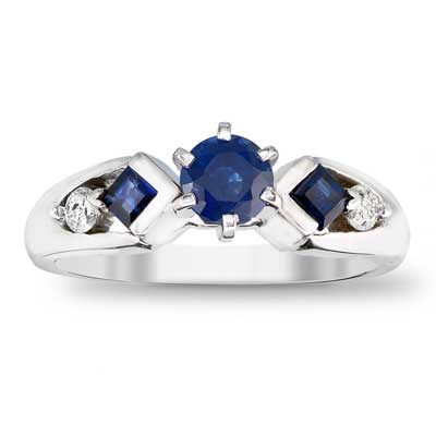 5.0mm Blue Sapphire and 1/10 CT. T.W. Diamond Engagement Ring