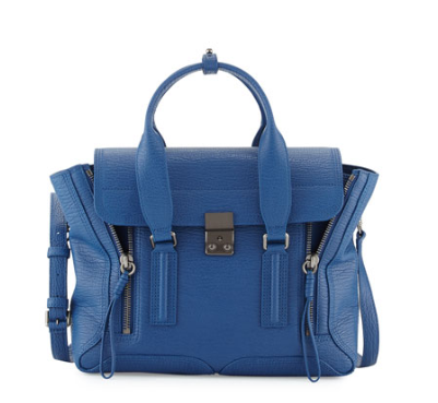 3.1 Phillip Lim Pashli Medium Leather Satchel Bag, Cerulean