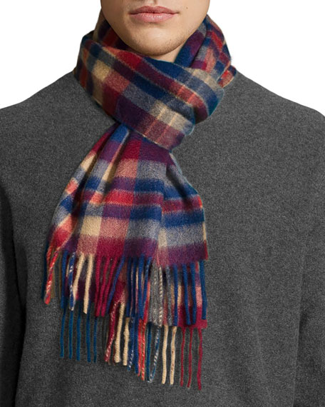 Neiman Marcus Cashmere Plaid Scarf w/ Fringe, Red/Blue/Camel/Gray