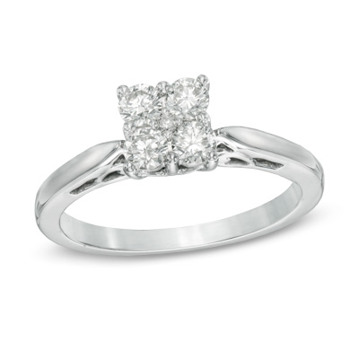1/2 CT. T.W. Diamond Cluster Engagement Ring in 10K White Gold