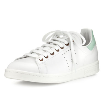 Adidas by Raf Simons Stan Smith Vintage Perforated Leather Sneaker, White/Light Green