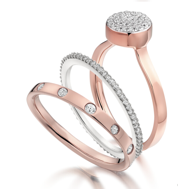 Skinny Crown Ring in 18ct Rose Gold Plated Vermeil on Sterling Silver with Diamond