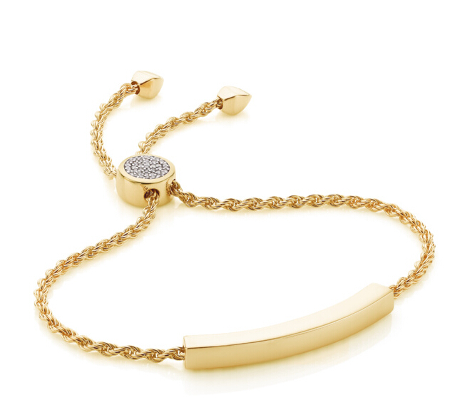 Linear Diamond Toggle Chain Bracelet in 18ct Gold Plated Vermeil on Sterling Silver with Diamond