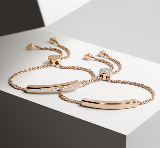 Linear Diamond Toggle Chain Bracelet in 18ct Rose Gold Plated Vermeil on Sterling Silver with Diamond