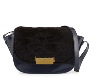 ZAC Zac Posen Eartha Leather & Shearling Crossbody Bag, Midnight/Black