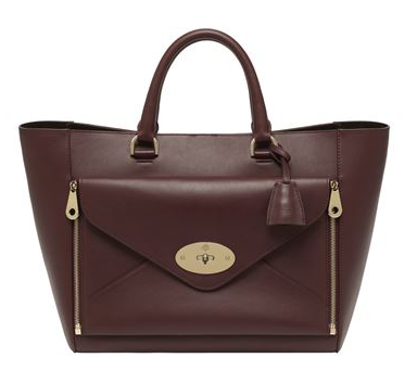 Mulberry Willow Silky Calf Leather Tote in Oxblood