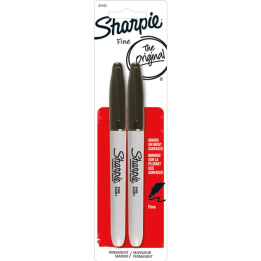 Sharpie Permanent Markers, Fine Point, Black, 2-Pack (30162PP) : Office Products