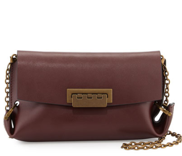 ZAC Zac Posen Eartha Folded-Gusset Leather Crossbody Bag, Vino