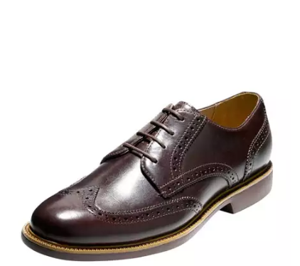Cole Haan Great Jones Grand.OS Leather Wing-Tip Oxford, Chestnut