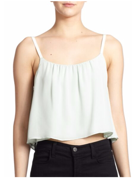 Alice + Olivia - Lucy Cropped Silk Trapeze Tank