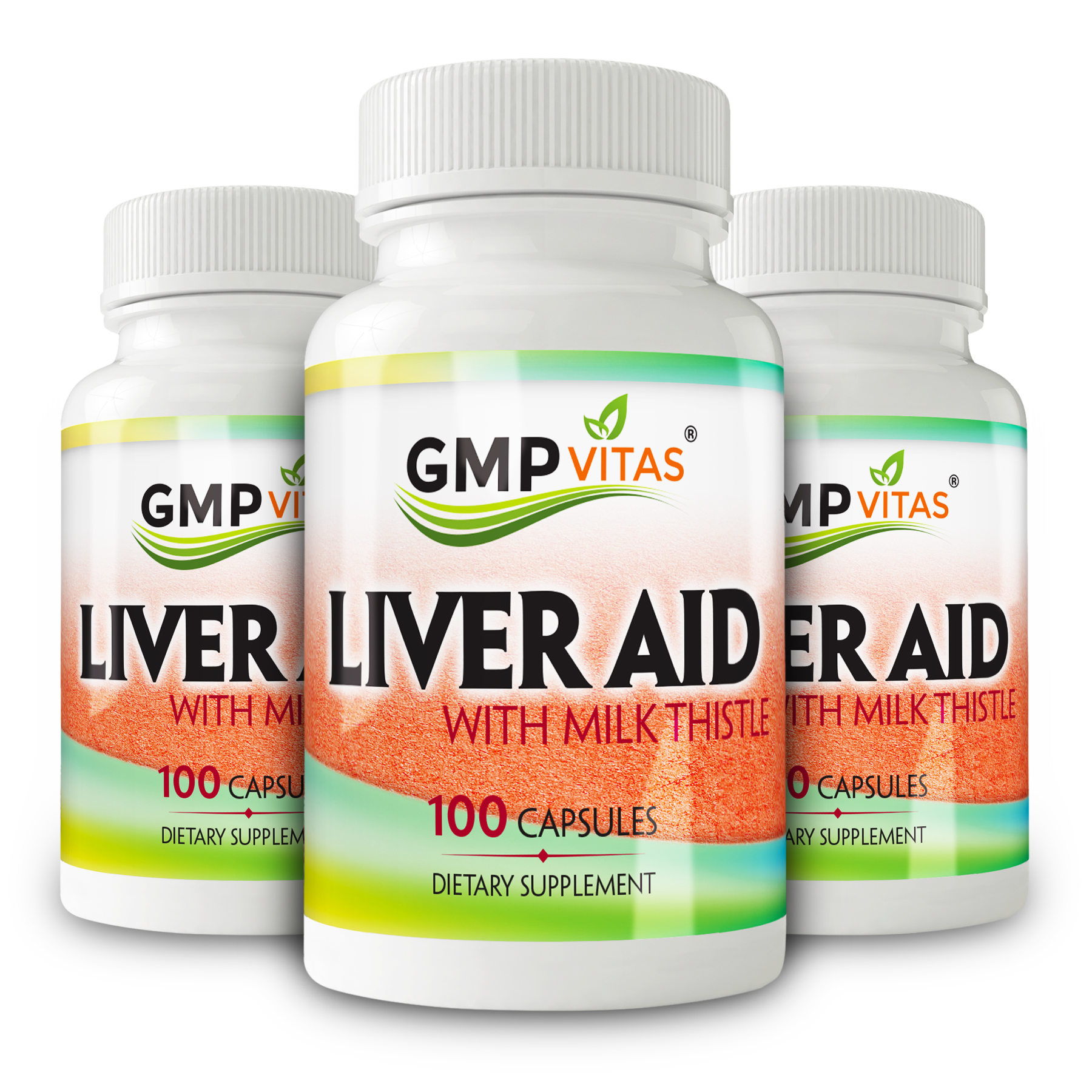 Super Liver Aid With Milk Thistle Bundle (GMP Vitas® Liver Aid With Milk Thistle 100 Capsules X 3)