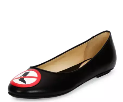 Moschino No Heels Leather Ballerina Flat, Black