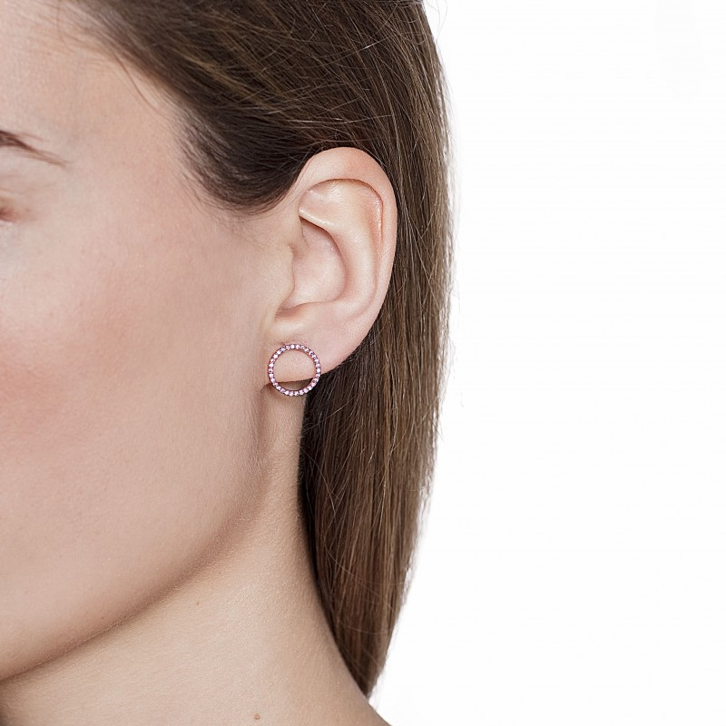 Rose Gold Plated Circle Stud Earrings