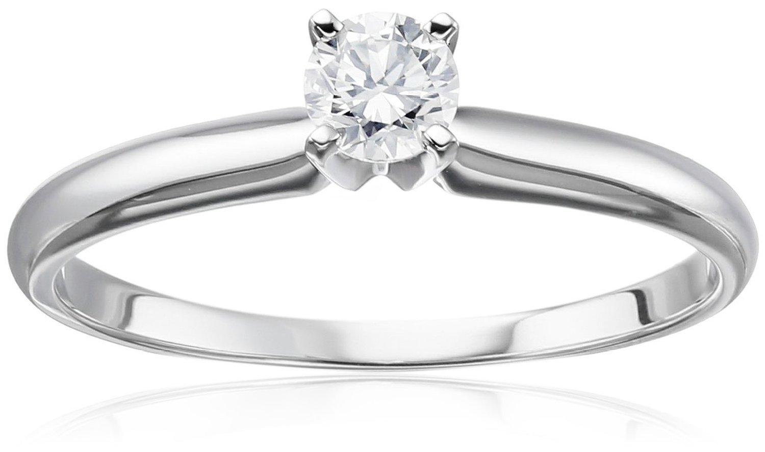 14k White Gold Round Solitaire Diamond Engagement Ring (1/4 cttw, H-I Color, I2-I3 Clarity)   Amazon.com