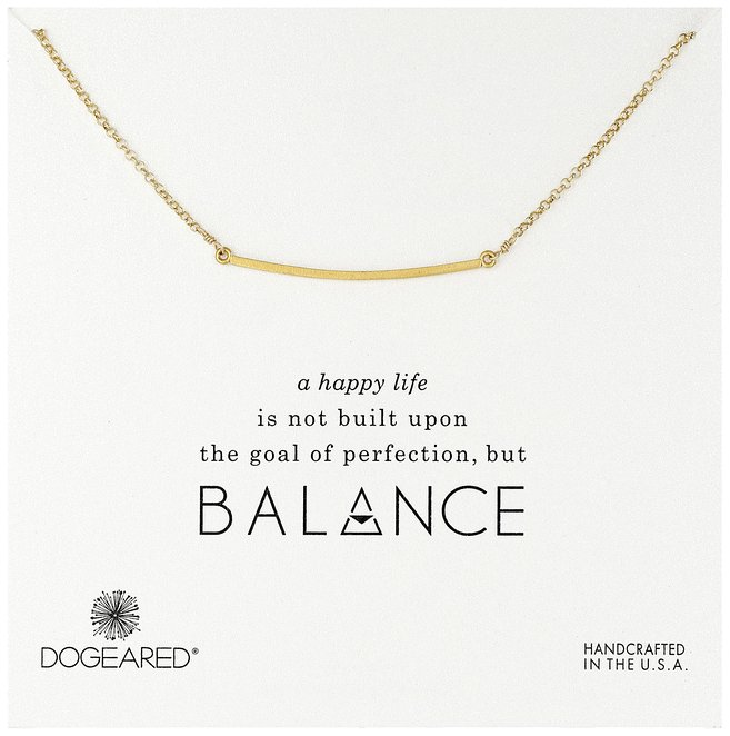 Dogeared Balance Large Curved Bar Gold Dipped Necklace, 18