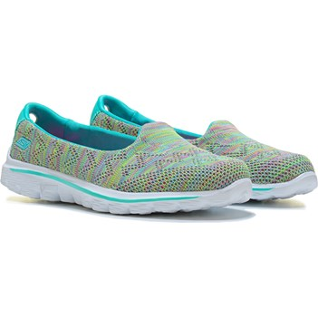 Skechers GOwalk 2 Captivate Slip On Sneaker Aqua/Multi Fit Knit