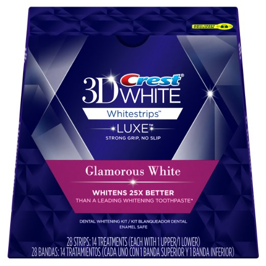 Crest 3D White Luxe Whitestrip Teeth Whitening Kit, Glamorous White, 14 Treatments
