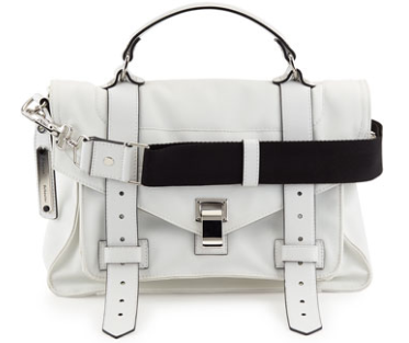 Proenza Schouler PS1 Medium Nylon Satchel Bag,Optic White
