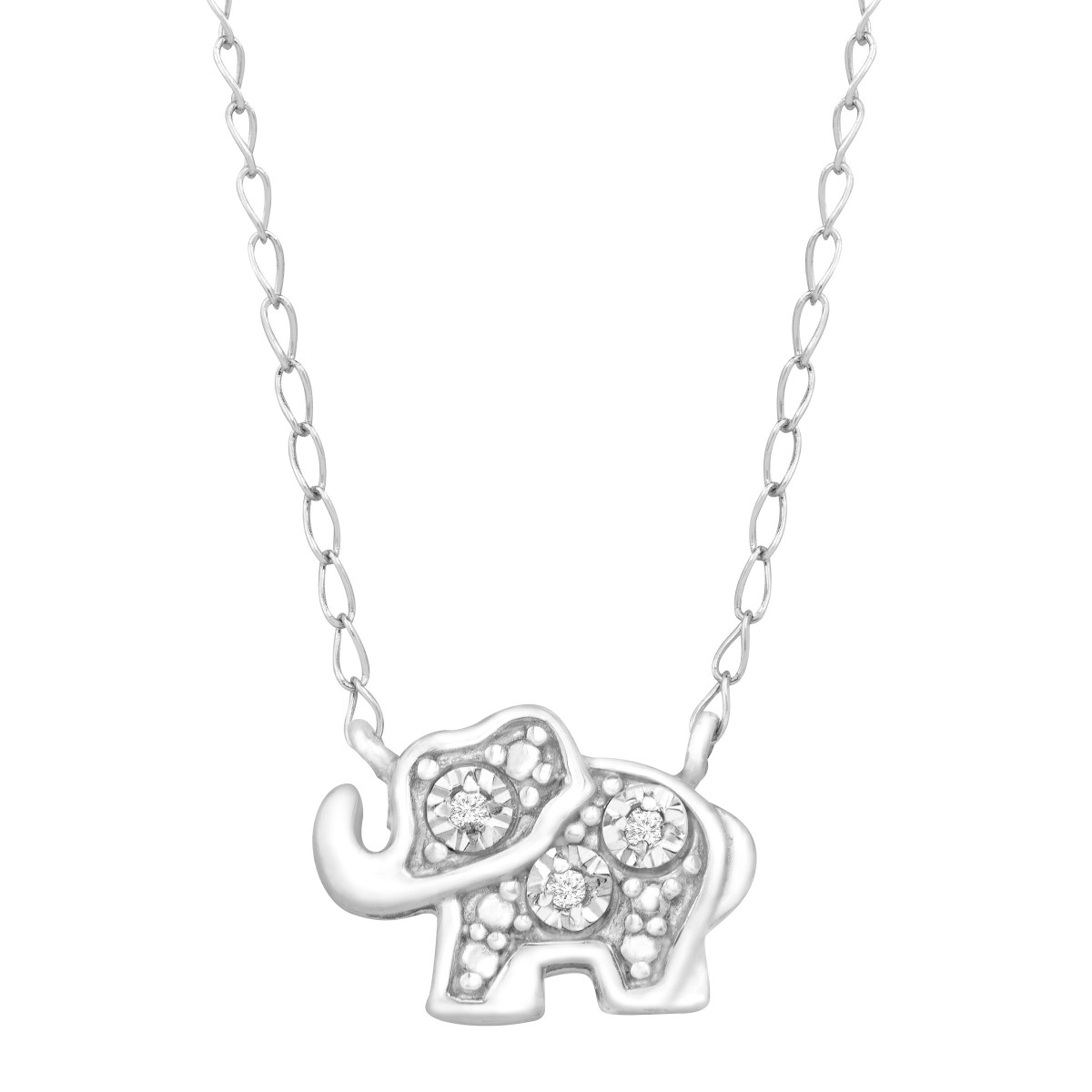Teeny Tiny Elephant Necklace with Diamonds