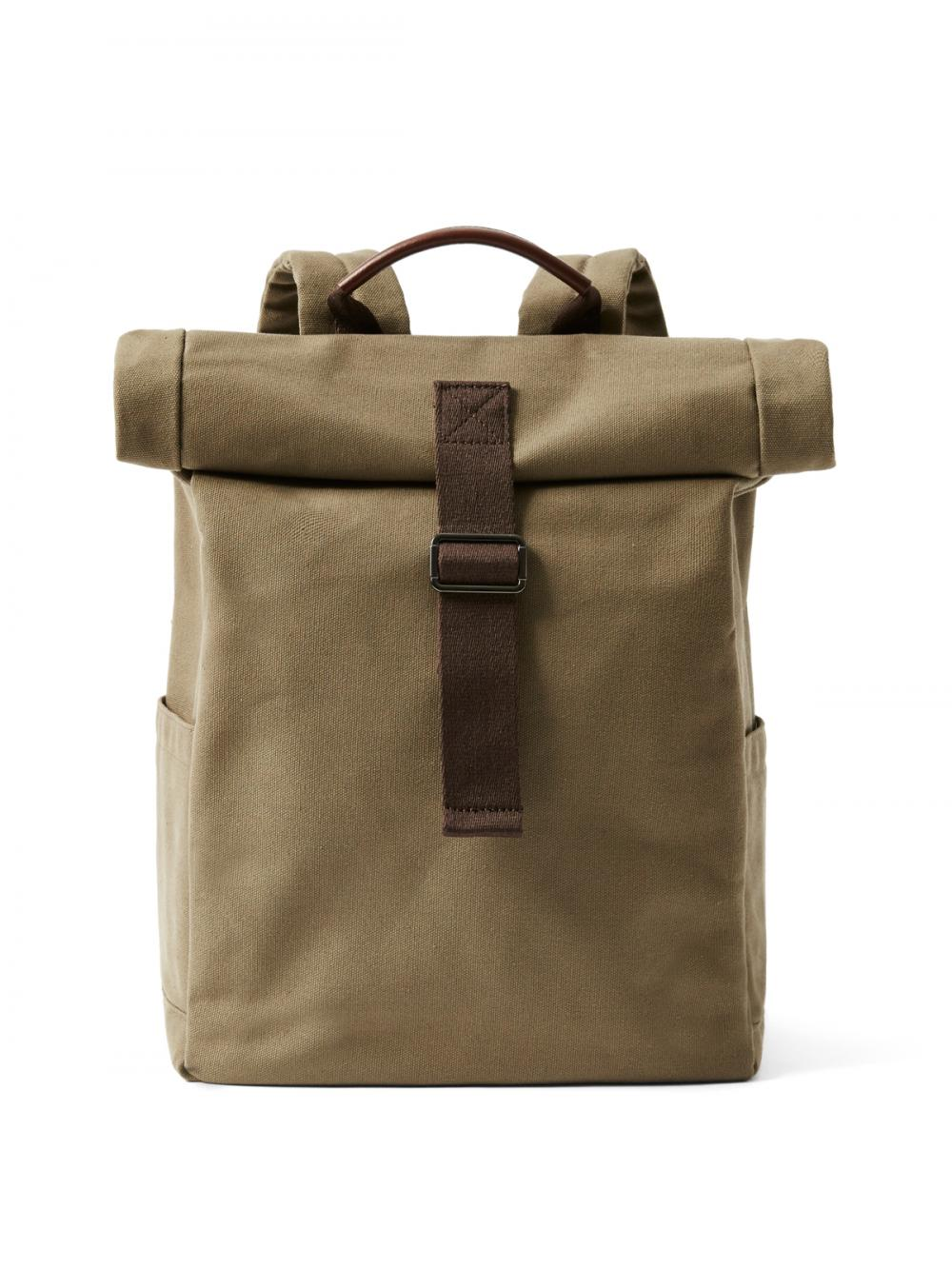 Canvas Roll-Top Backpack in Military   Frank + Oak