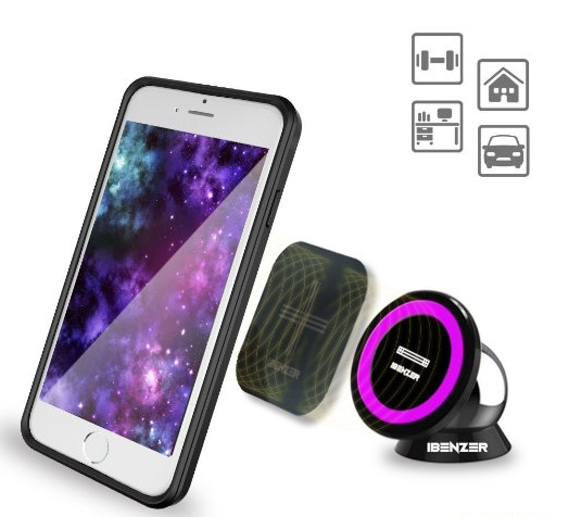 MagOn (TM) - iBenzer Everywhere One-Touch Smartphone Magic holder, Car Office Home Kitchen Bathroom and School Compatible, Retail Packaging, Purple CMH-MG01PU: Cell Phones & Accessories